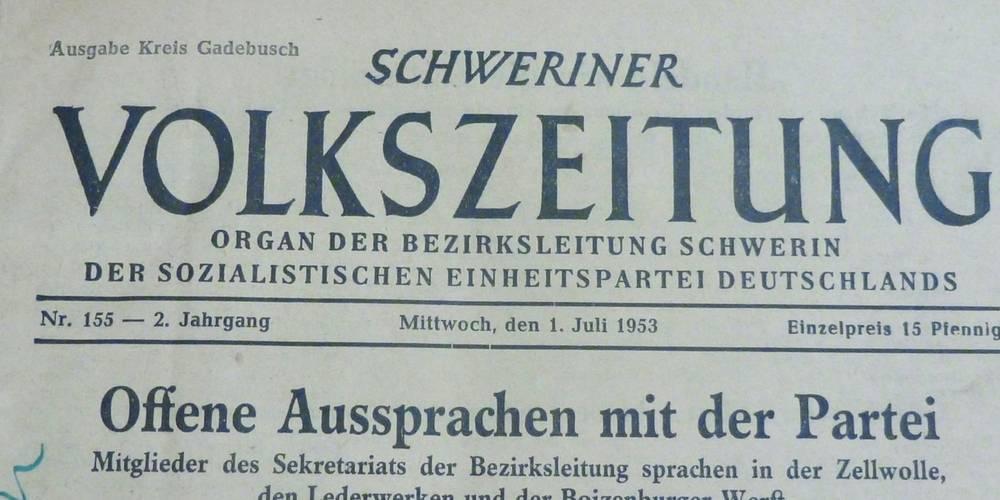 Schweriner Volkszeitung 1.Juli 1953