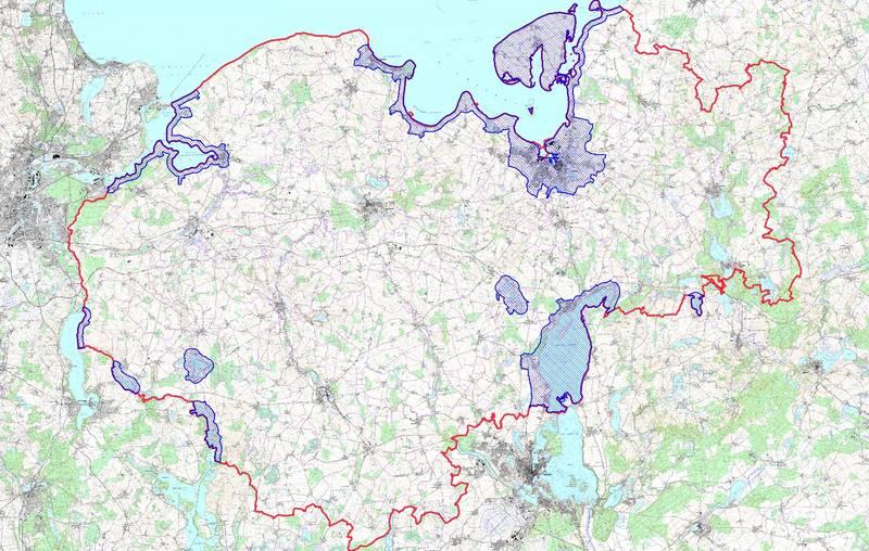 """Karte der Risikogebiete zur aktuellen Geflügelpest in Nordwestmecklenburg, siehe """"Allgemeinverfügungen Nr.2"""" unter Bekanntmachungen."""